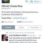 La cuenta original de #CELAC2015 es @celac2015 reconozca a la derecha la cuenta falsa. Rogamos no atenderla. http://t.co/Sjv8S4NulK