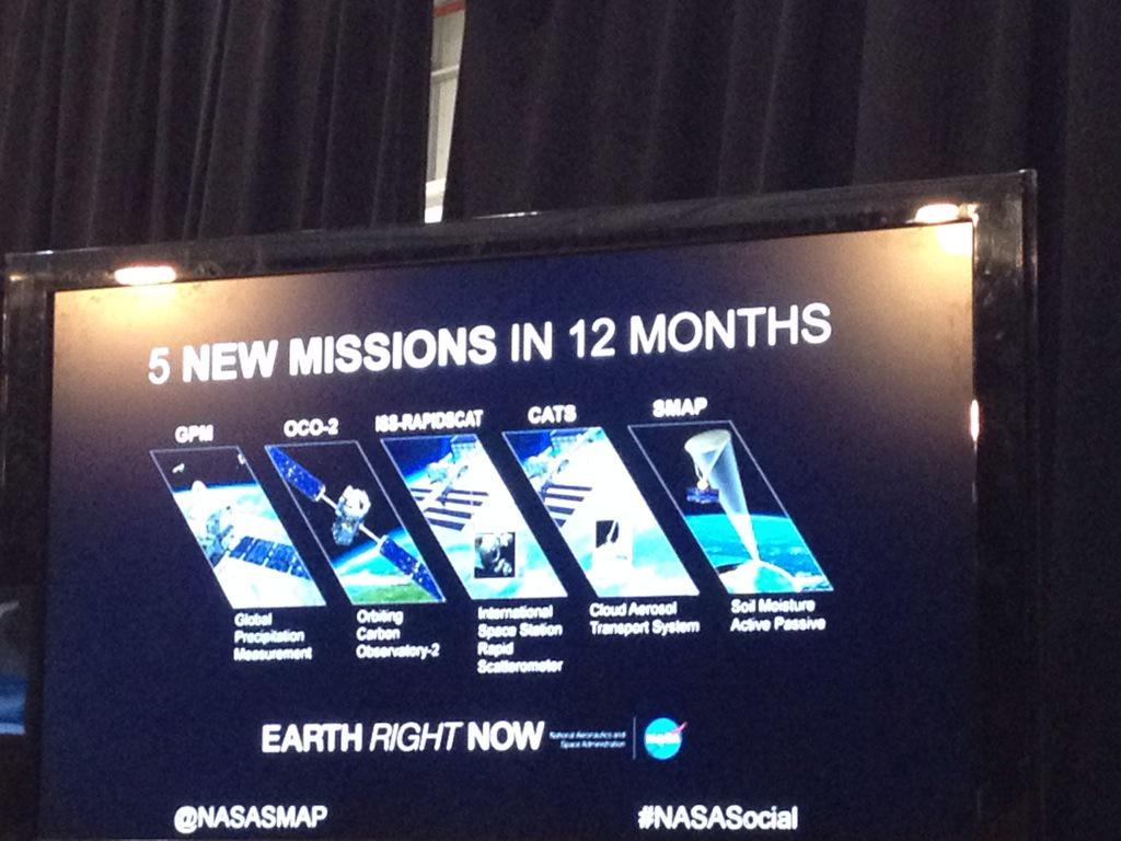Precipitation, carbon dioxide in the atmosphere, soil moisture— #SMAP joins other Earth science missions #NASASocial http://t.co/jjeMc40al5