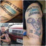 """Why wait for #SB49 when you can tattoo """"Back-to-Back Champs"""" on your body right now? (via @ocashughjhazz) http://t.co/i7EuIX6l9F"""