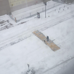 As snow blankets Boston, a bartender clears the Marathon finish line #BostonStrong (H/T @carlquintanilla) http://t.co/Q7G4gStZTX