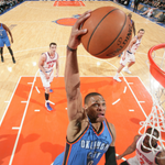 Durant is out, but Westbrook has 16 pts for the @okcthunder as they lead the @nyknicks, 45-43 at the half.