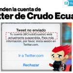 [Última hora] Crudo Ecuador ya no tiene cuenta en Twitter » http://t.co/ITl5b8cABq http://t.co/kzkKNcl02v