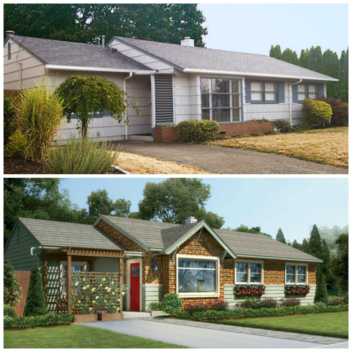 Before after craftsman inspired upgrades give a 1950s for 70s house exterior makeover australia
