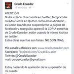 PILAS / Crudo Ecuador informa su suspensión y la creación de cuentas falsas. #TodosSomosCrudoEcuador http://t.co/mVkFCoRLMY