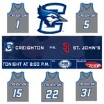 A new starting five tonight for Creighton @BluejayMBB. Tip-off at 8:01 pm. http://t.co/mKPc4ETYQp