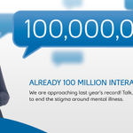 Weve surpassed 100 million texts, tweets, calls & Facebook shares! Lets keep the conversation going. #BellLetsTalk http://t.co/GzHHsMPlou