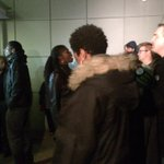 While protests are happening outside a #Denver police station - inside no one reacting from the front door http://t.co/XlzBlAQhY5