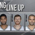 Here we go! Your starting line up for #SASvsCHA: Tim, Kawhi, Matt, Tony & Danny http://t.co/Z0BfiujOPT