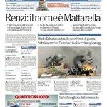 Renzi: il nome è Mattarella - La prima pagina di Repubblica di oggi http://t.co/xeo0MjuqIe