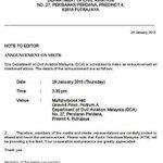 DCA dijadualkan mengadakan sidang akhbar mengenai misi pencarian pesawat #MH370 pada 3.30 petang ini. http://t.co/VWap2fZs1s