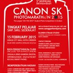@Info_LombaFoto Canon SK Photomarathon 2015 | 15/2/15 @Grage City Mall | registrasi 75K | info http://t.co/v1APUXpETg http://t.co/aHVYWrikmp