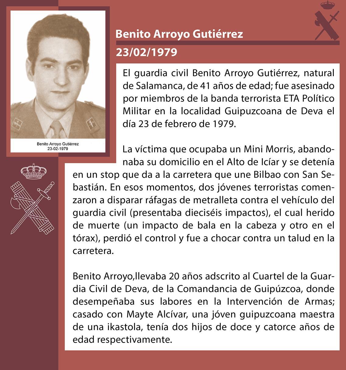 RT @guardiacivil: #TerrorismoGC En memoria del Guardia Civil BENITO ARROYO GUTIÉRREZ, asesinado Por #ETA , Deva (Guipúzcoa), 23/2/1979 http://t.co/6oHn2SVbRY