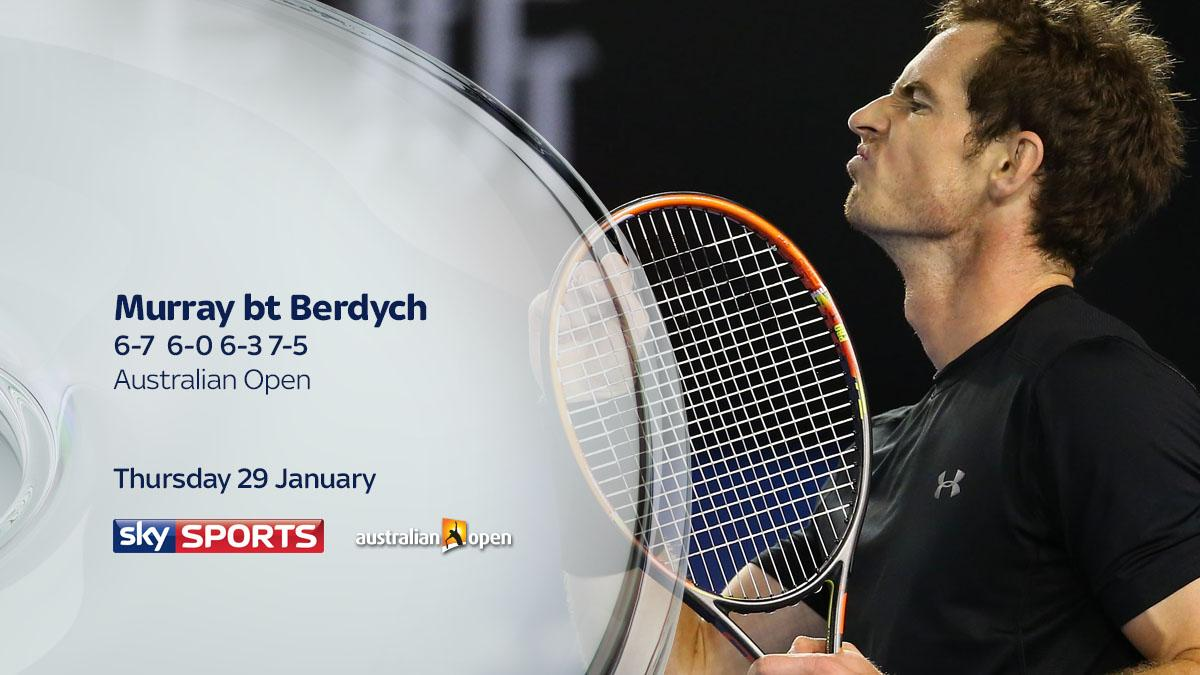Andy Murray beats Tomas Berdych in four sets 6-7 6-0 6-3 7-5 to reach the #AusOpen final http://t.co/MC508eHjGv