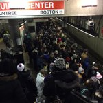 ALERT: Avoid #MBTA Quincy Center. Train evacuated due to smokey train. Moving ppl to commuter rail to Boston. http://t.co/xJn1Qphy2I