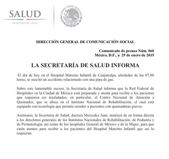 #Comunicado sobre lamentable accidente relacionado con pipa de gas. #HospitalMaternoInfantil #Cuajimalpa. http://t.co/RqJnqWCAnf