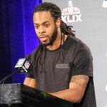 """Sherman on if his son was born Sunday: """"I think hes going to be a disciplined young man and stay in there."""" #SB49 http://t.co/VvTZZxwnTy"""