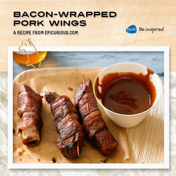 These bacon-wrapped pork wings aren't messing around – perfect #GameDay app: http://t.co/5y1bK89Xol. http://t.co/XQeYeh7WE0