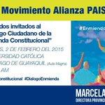 Este lunes #DialogoEnmienda en la Universidad Católica de #Guayaquil #EnmiendaConstitucional. ¡Los esperamos! http://t.co/57PECw0WL2