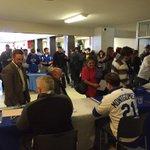 A big crowd greets the #RoyalsCaravan at Hutchinson Community College. http://t.co/UmaZUq9ols