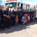 Adams twins celebrate 5th bday with police and firefighters in Cleburne. This is a big milestone for family. @CBSDFW http://t.co/RRyrYptdvO
