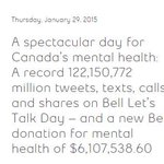 Fantastic 2015 #BellLetsTalk numbers! Awesome contributions, @Healthy_Minds team! http://t.co/tiY9qZm1Zp