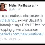 It was expected from Jayanti Natarajan. She was very upset when she was removed from Green Ministry. Now what Raga? http://t.co/3JquVieE9h