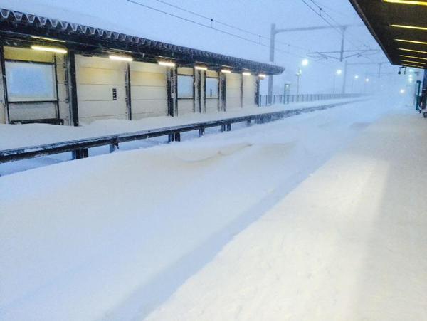 本日、東京ではみぞれの影響でJRや私鉄は軒並み遅れていますが、ここで先日の豪雪で札幌市内の駅の状況を見てみましょう #北から目線 http://t.co/YCD5dDj5ZJ