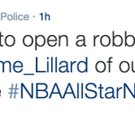 The Portland Police arent too happy Damian Lillard was left off the All-Star roster... http://t.co/I6k6hMPAn0