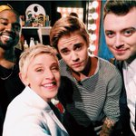 .@justinbieber, @samsmithworld & @kanyewest all hung w/ @TheEllenShow this week! - @Iam_Shem http://t.co/ubh37s7Glm