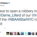 The @PortlandPolice Department is less than thrilled about Damian Lillards omission from the All-Star Game. http://t.co/WDDJ49s5gB