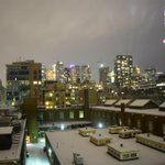 A fresh dusting of snow and overcast conditions really lightens up the #Toronto night sky. #photography http://t.co/Xt9aIddqjC