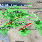 Showers continue to move off to the northeast at around 20 mph. Rain will pick-up overnight and into Friday. #AZwx http://t.co/HhBKMVAYDC