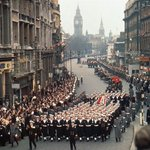 50 years ago this hour, Churchills coffin trundled solemnly through London: http://t.co/KA8rqvDBCo http://t.co/THpqLdAZYW