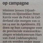 Minister Jeroen Dijsselbloem morgen (zaterdag) op campagne in Apeldoorn Zuid http://t.co/u7ynwMHThF