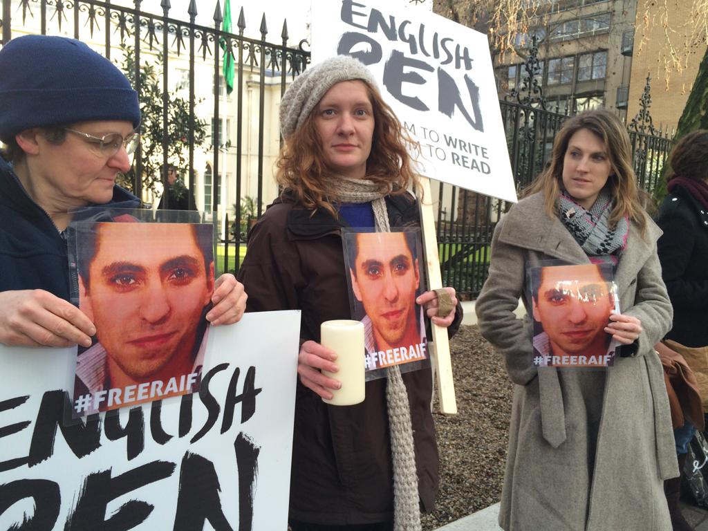 Another vigil for @raif_badawi at @SaudiEmbassyUK #freeraif http://t.co/HeQll1MV55