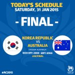 .@theKFA and @Socceroos will battle it out to #MakeHistory and become the Champions of Asia! #ACFinal #AC2015 http://t.co/sP3WMZ7SSx