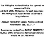 If you wish to help the #Fallen44, you may donate to the PNP Special Assistance Fund. @PNPhotline @stateofdnation http://t.co/VREZMyGxj1