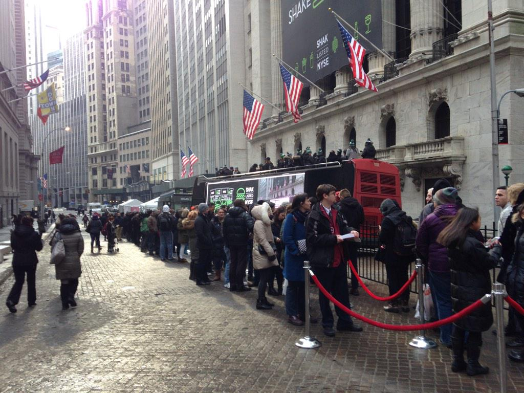 Wherever you go, lines for @shakeshack burgers. Especially when they're free at the @nyse. http://t.co/a1fC21Aqky