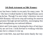 """JUST IN: Jeb Bush on Romney: """"I join many in hoping his days of serving our nation and our party are not over."""" http://t.co/p4VEWYmJ5p"""