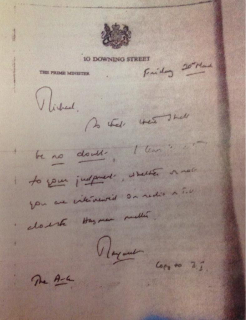"From within the Sir Peter Hayman file a letter from Margaret Thatcher - she refers to ""the Hayman matter"" http://t.co/xrWDU94AP4"