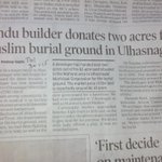Land for Muslim burial in ulhasnagar was a long awaited issue... Final a Hindu brothers does it. May Allah bless him http://t.co/mrNKvT3t1m