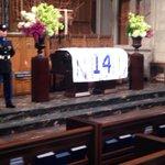 #14 Cubs banner draped over Ernie Banks casket as visitation begins. http://t.co/d2fJDgFnKa