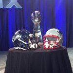 Lombardi Trophy just a few feet away from where @nfl boss Roger Goodell will speak in minutes. #SB49 #12News http://t.co/gOwykMWu6A