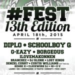 Announcing your #13Fest lineup ft. @diplo, @ScHoolBoyQ, @G_Eazy, and MORE! Tickets: http://t.co/4ZLljDmLHy http://t.co/ssr0xq7Ib4