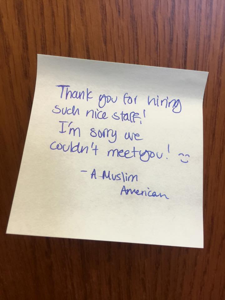 Note from someone in a group of students that visited my office during Muslim Day at the Capitol. #TXLege #TXPoli http://t.co/JSuFeFBOWW