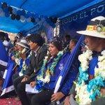 Presidente Evo organizaciones sociales y candidatos Rossio Pimentel y Victor Hugo Vasquez en proclamación en Oruro. http://t.co/xMXqlBhgxe