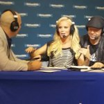 Jenny McCarthy having fun with Pitbull during her radio show on Sirius on @radiorow @12News #SB49 http://t.co/avAOWyaWUC