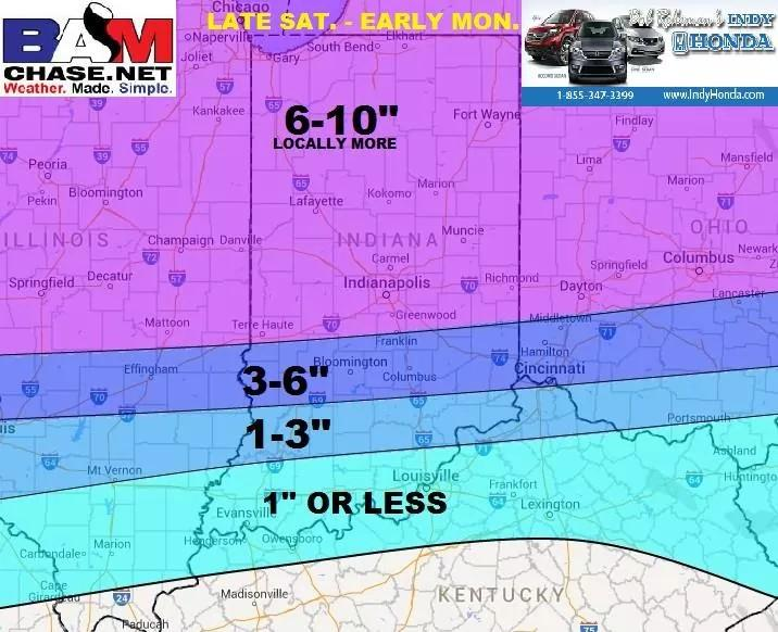 For now here is our 1st call snowcast for late weekend. RT to friends! Will fine tune tomorrow. #inwx #INdy M. http://t.co/rT8ctgVgFm