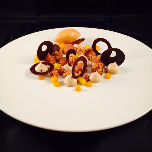 ... cacao nib mousse, puff pastry crumble, toasted hazelnut gelato http