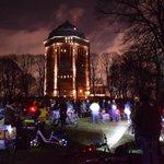Wir sind der Verkehr. Critical Mass Hamburg 30.01.2015 mit Ende im Schanzenpark, der Wasserturm im Hintergrund @cm_hh http://t.co/XiZ3VZaUZo